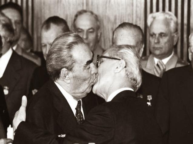 The Socialist Fraternal Kiss between Leonid Brezhnev and Erich Honecker 1979